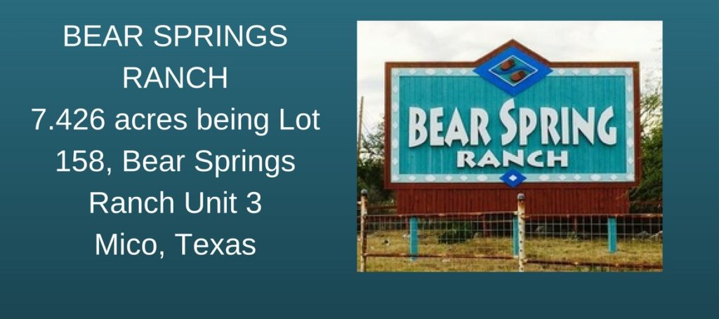 BEAR SPRINGS RANCH7.426 acres being Lot 158, Bear Springs Ranch Unit 3Mico, Texas (1)